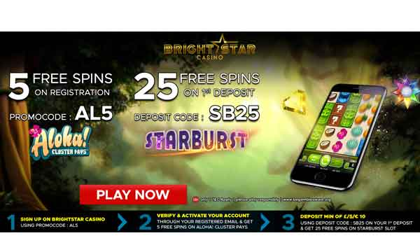 Bright Star Casino Bonus 5 Free Spins On Sign Up
