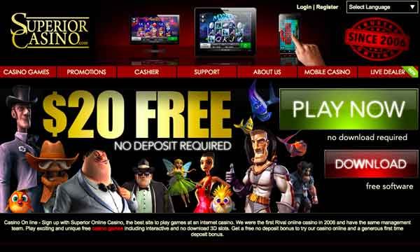 Superior Casino Bonus 20 Free No Deposit Required Casino Bonus