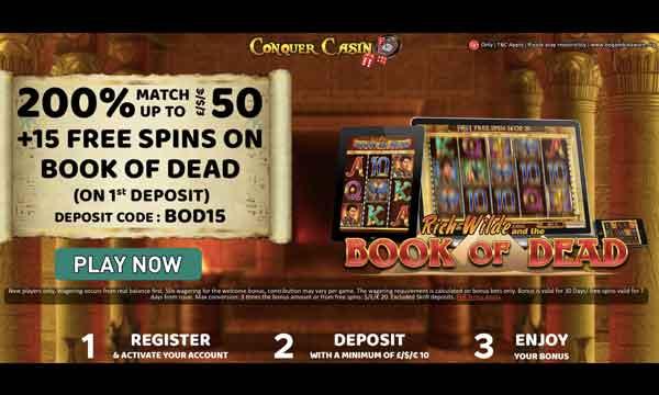 conquer casino 200 casino bonus
