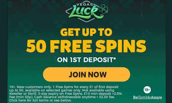 Vegas Luck Casino Bonus 50 Free Spins No Wagering Bonus