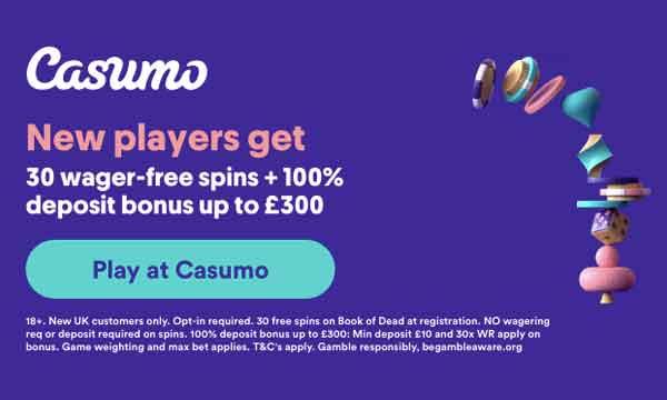 Casumo Casino Bonus Get 30 No Deposit No Wagering Free Spins