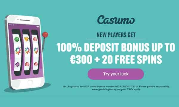 casumo 20 free spins no deposit