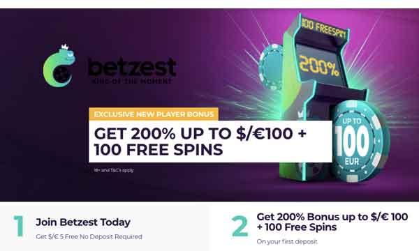 Betzest Casino: 200% Welcome Bonus + 100 No Wager Bonus Spins!