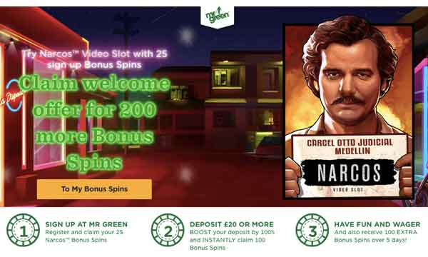 Mr Green Casino Bonus Claim 25 No Deposit Free Spins On Narcos