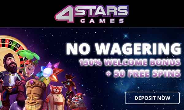 4starsgames No Wager Bonus 50 Free Spins No Deposit No Wagering